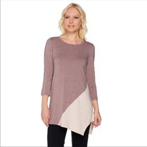 LOGO Heathered Color Block Knit Top